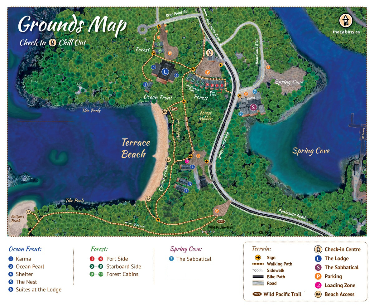The Cabins at Terrace Beach Ucluelet Accommodations Site Map